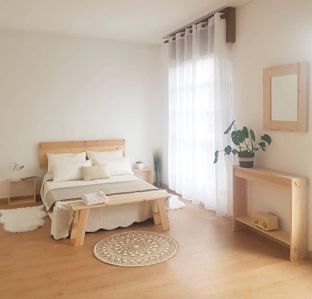 dormitorio moderno muebles cama y estantería